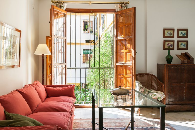 This 2 bedroom apartment is set around a wonderful plant-filled courtyard.