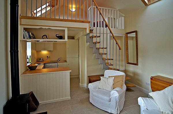 Open plan design with stairs to mezzanine bedroom