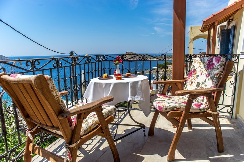 Large private balcony of romantic two spaces honeymoon.
