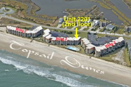Aerial photo showing Topsail Dunes showing 2201