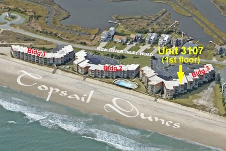 Aerial photo of Topsail Dunes showing Unit 3701