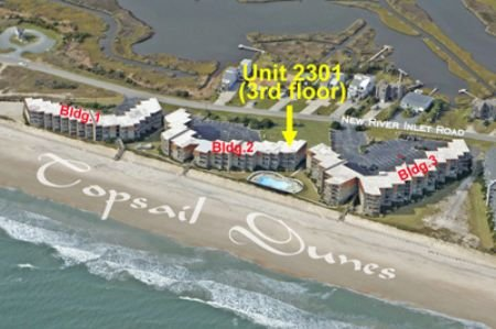 Aerial photo Topsail Dunes showing Unit 2301