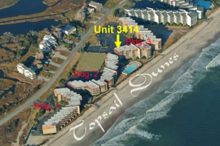 Aerial photo of Topsail Dunes showing Unit 3414