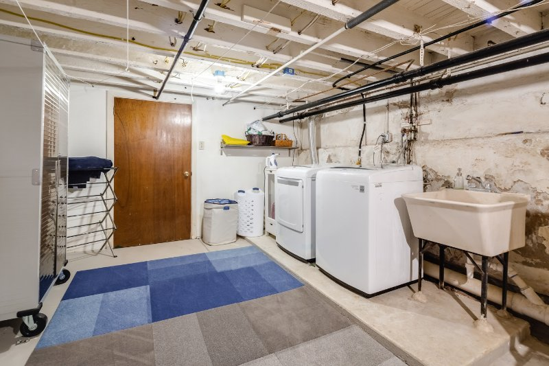 Basement with brand new LG washer and dryer