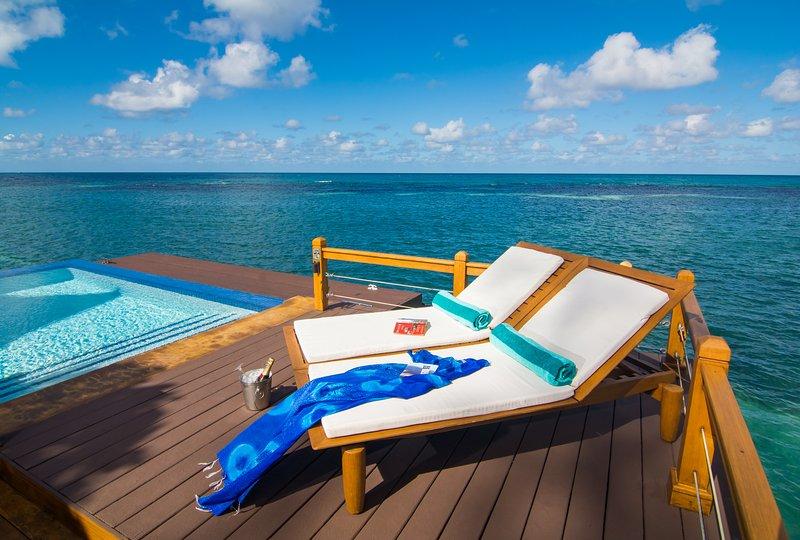 vue sur l'océan et la piscine