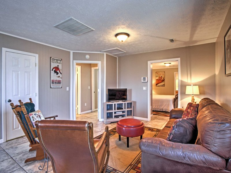 The 2BR, 2-bath home sleeps up to 6 guests.