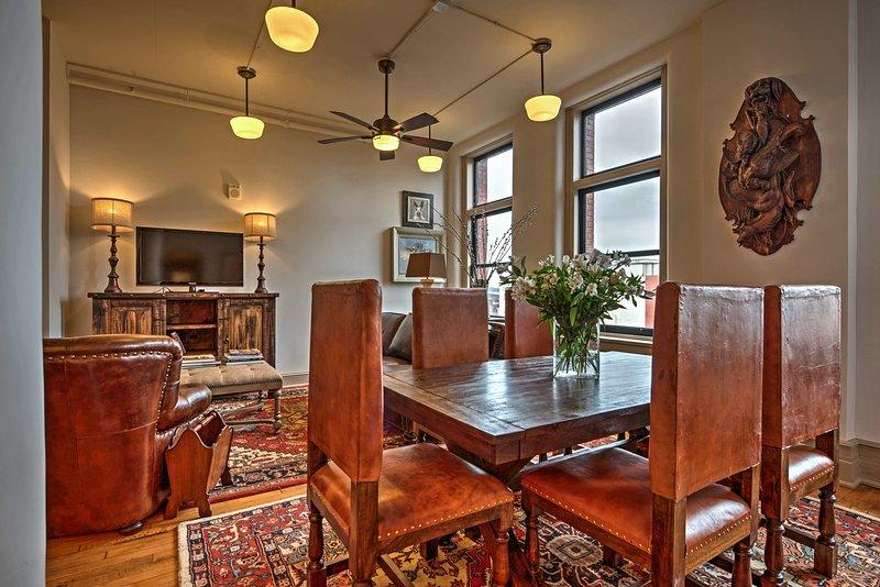Stylish, high-end, rustic decor creates a warm and inviting feel throughou