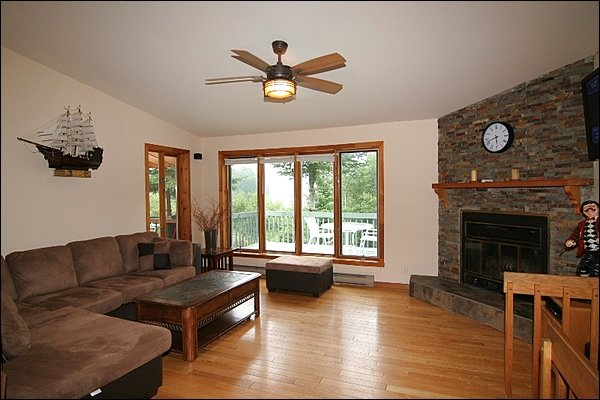 Large Living Area with Wood Burning Fireplace