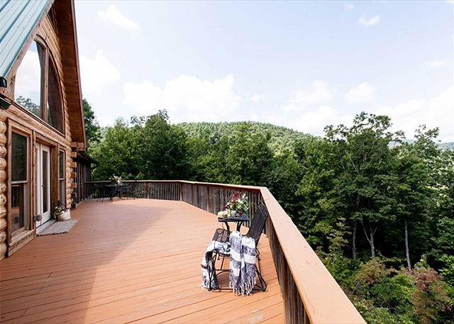 Large back deck with fantastic views.