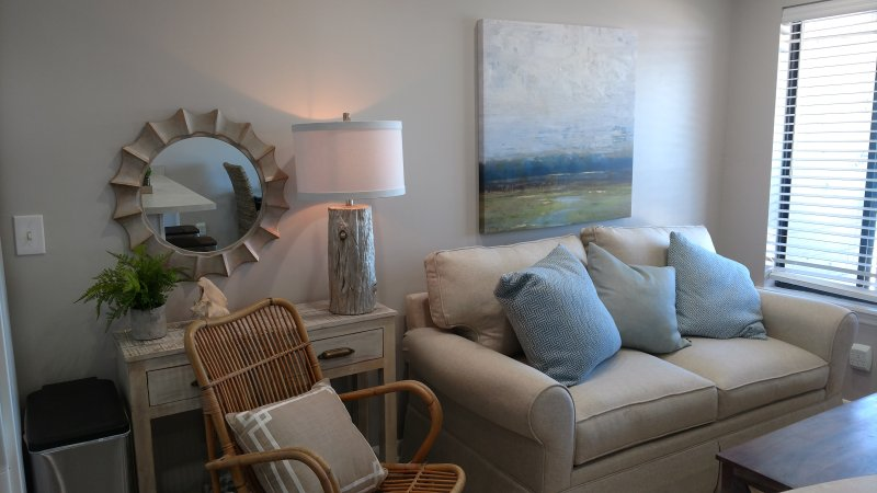 Soothing beach colors of the living room to relax