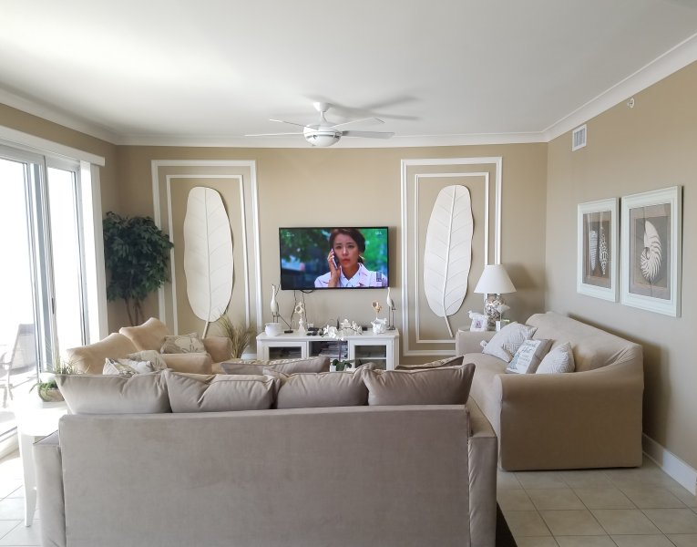 Living room with queen pull out sleep sofa.