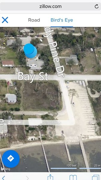 Blue dot is exact location. Driveway is off of Shady Pine. You may park under the carport.