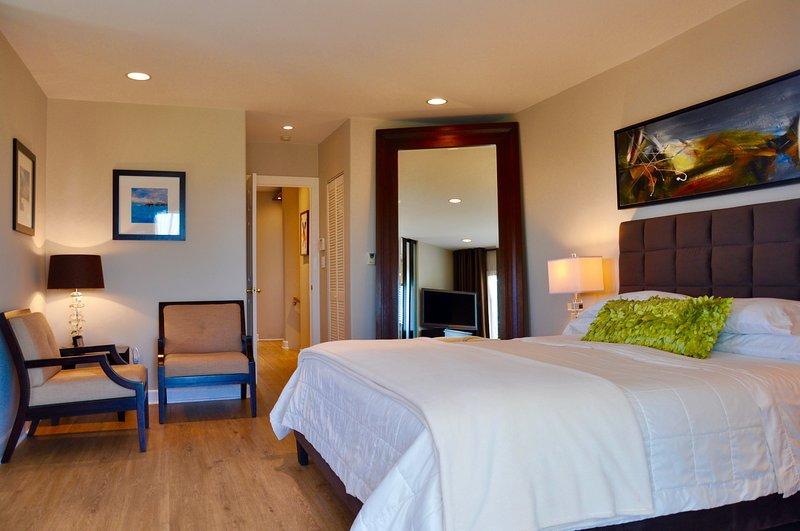 La chambre principale avec lit numéro de sommeil king size et HDTV