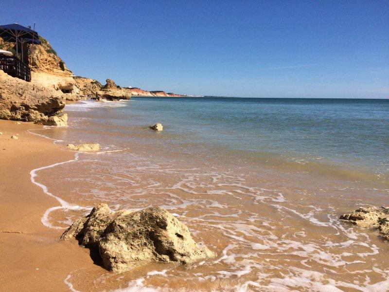 The beautiful Olhos d'Agua beach.