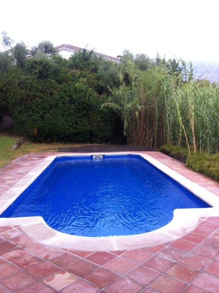 La piscina en un rincón protegido de la finca