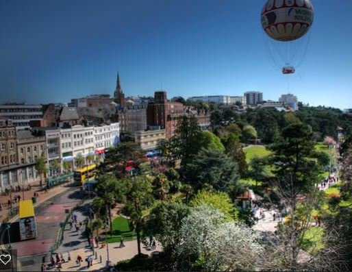 Bournemouth town centre and pleasure gardens, lots of shopping and activities for all ages
