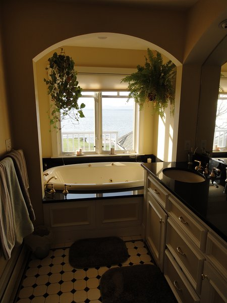 Master bath with panoramic view of the lake