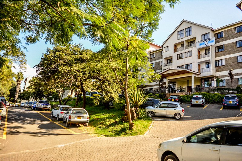 The parking and front entrance to YWCA Parkview Suites ,nairobi on nyerere Road