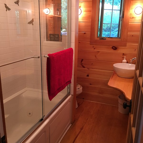 jetted bath tub, downstairs bathroom
