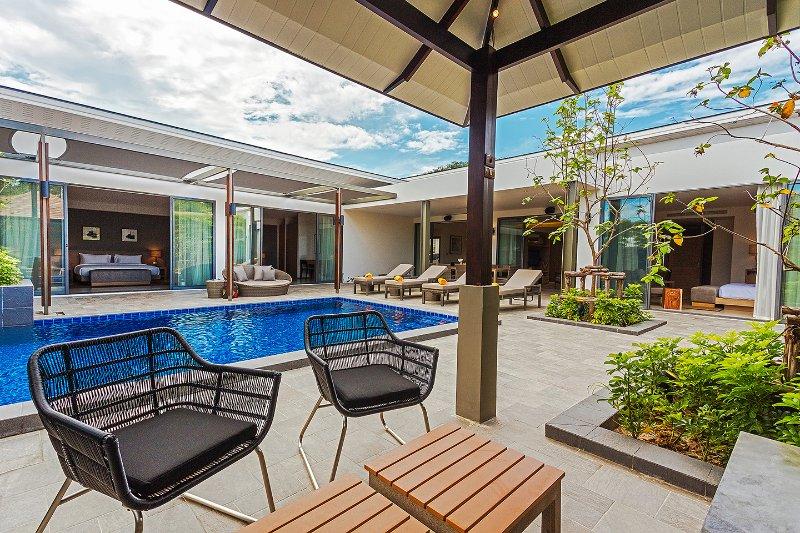 Sala com contador na piscina