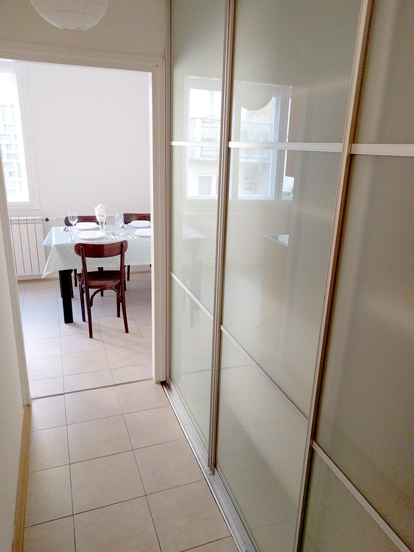 Large wardrobe in corridor, look from the entrance to the apartment