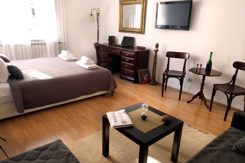 Main room, TV set, king size bed, siting area