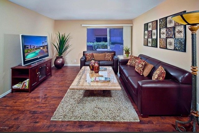 living room with 55' smart TV