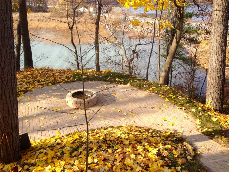 Your firepit area overlooking the river. Enjoy a glass of wine or some Smores