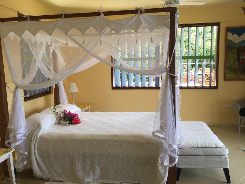 Camera matrimoniale con letto a baldacchino, luce netting- e ventilato.