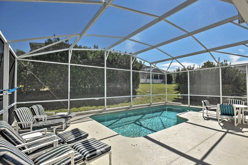 Enjoy your private lanai patio in the Reserve Golf Club community.