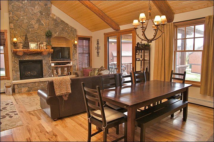Open Concept with Vaulted Ceilings, floor to ceiling Fireplace