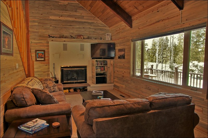 Living Room with HDTV, DVD Player, & Wood Fireplace