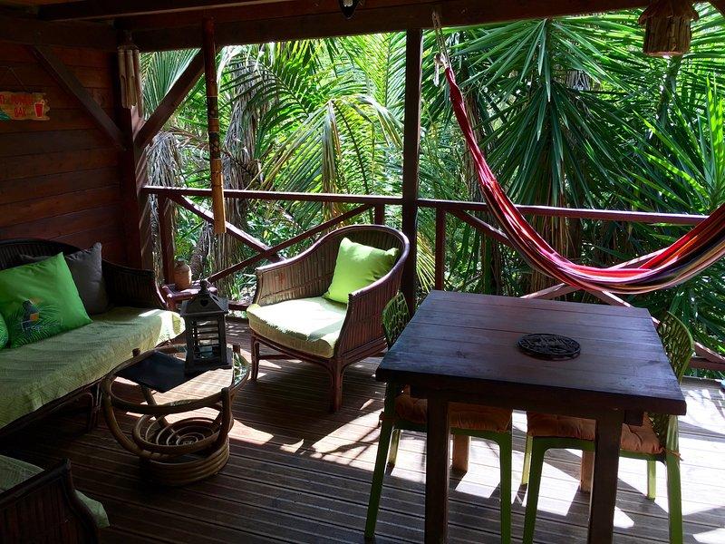 terrasse aménagée en espace de vie