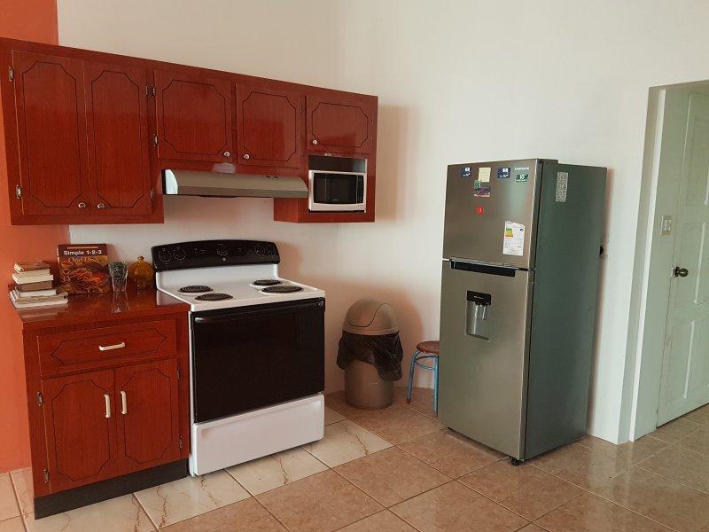 Cuisine spacieuse avec cuisinière, four, micro-ondes, d'un réfrigérateur, des armoires, des couverts, des épices et des livres