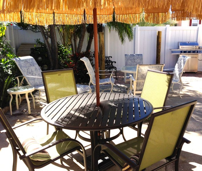 Plenty of patio seating and shared with only two other 1 bedroom apartments.