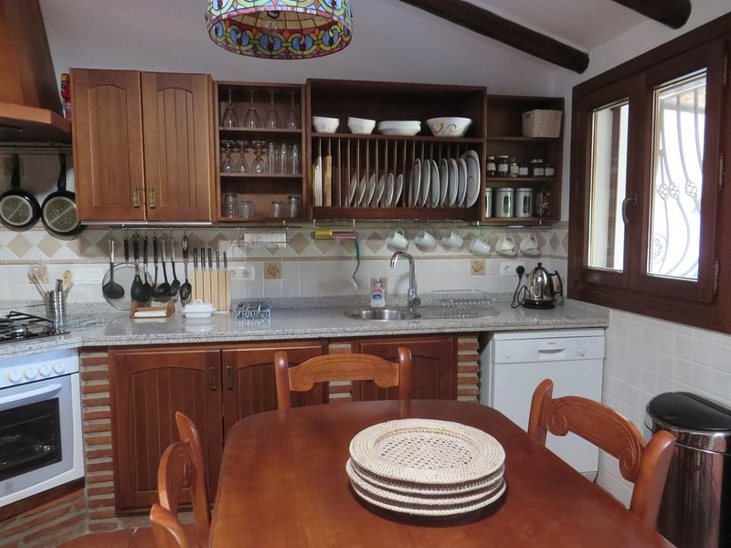 Fully equipped kitchen; everything you need for a self catering holiday.