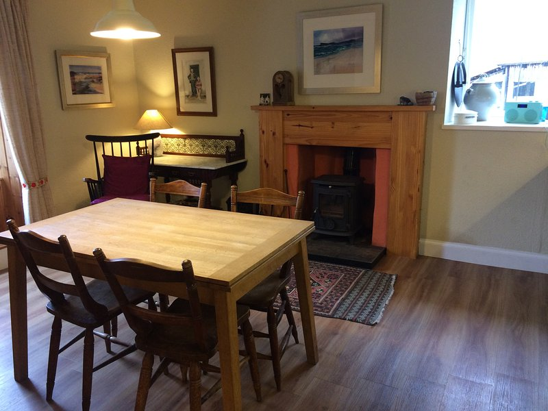 Dining kitchen with wood burning stove