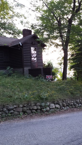 Front of Cabin #1 faces Hill Street; its picture window to the West directly overlooks White Lake.