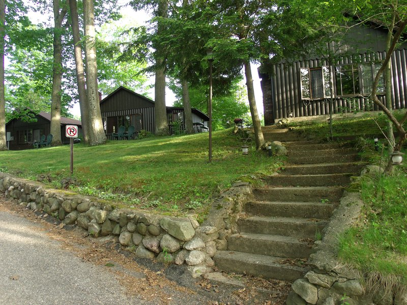 Cabin # 3 is centered between Cabin #2, to its right, at the staircase, and Cabin #4 to its left