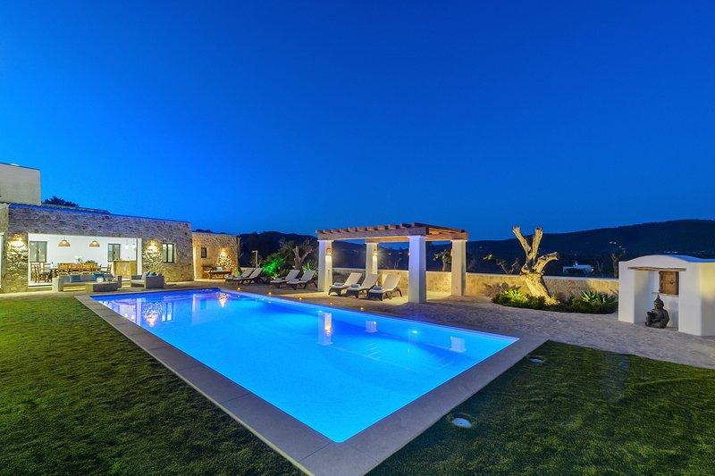 Spettacolare villa con zona relax in piscina di notte