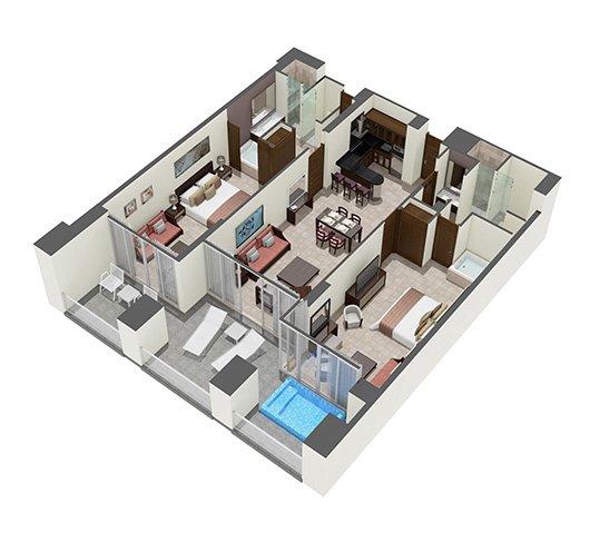 Suite Grand Mayan 2 habitaciones / 2 baños