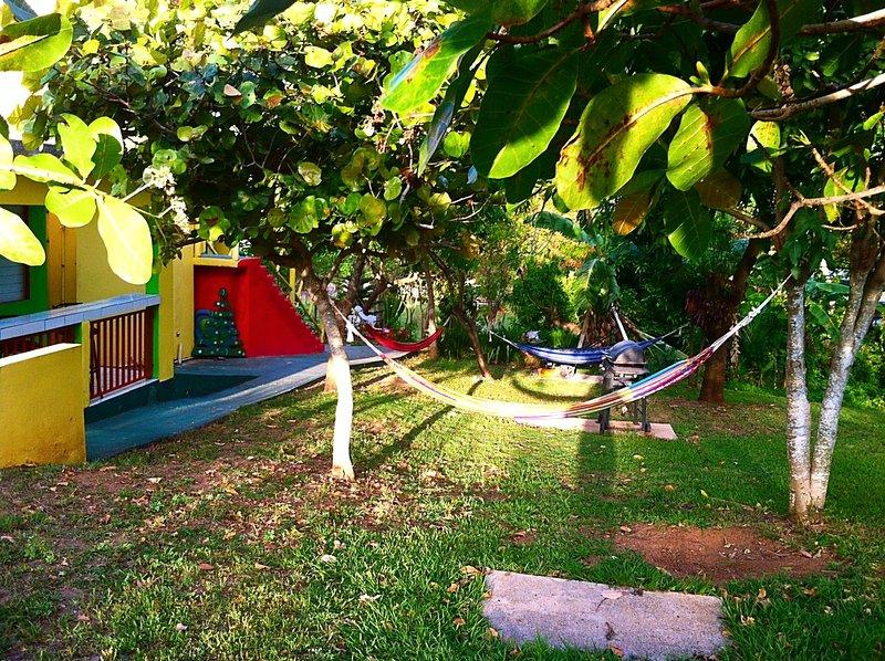 amache istituito nel cortile di casa per il relax