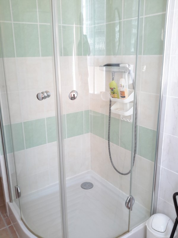 Nice shower all tiled.