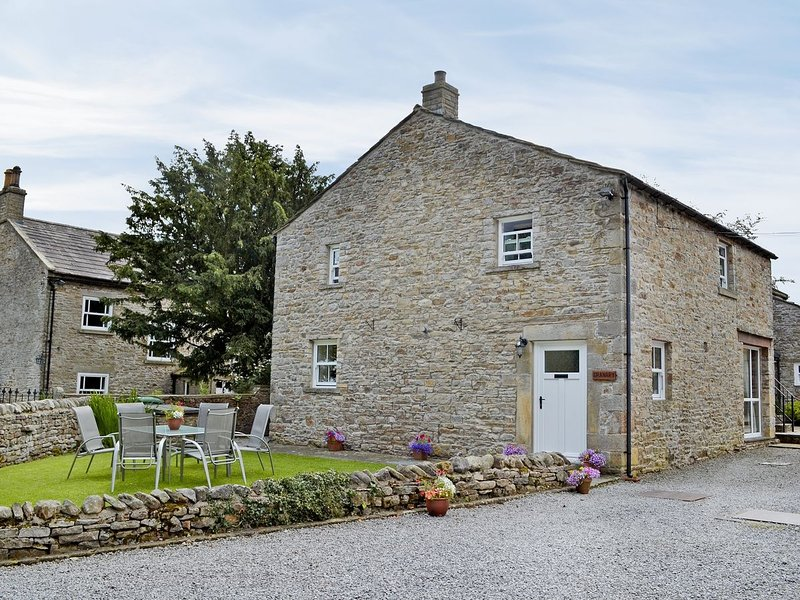 The Granary (Sleeps 8) Front Elevation Showing Private Lawned Area With Garden Furniture