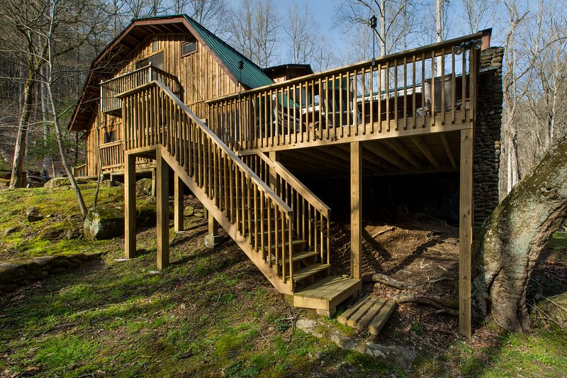 Deck stairs to creek side