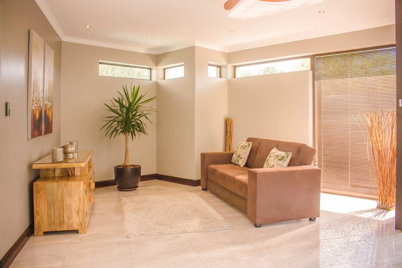 Entrance To Villa Moshay with sleeper couch. A perfect combination of modern comfort and luxury