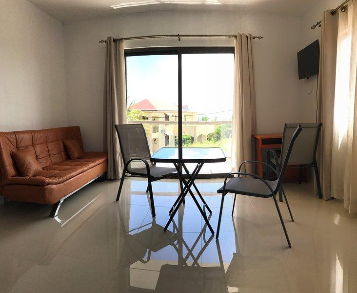 Sofá cama, televisión y terraza con vistas al mar.