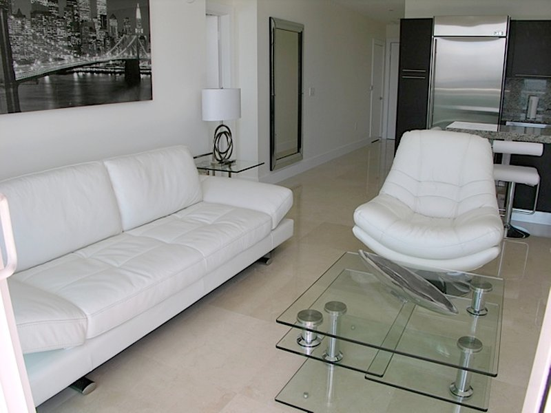 Living room with a comfortable sofa bed for a fifth person
