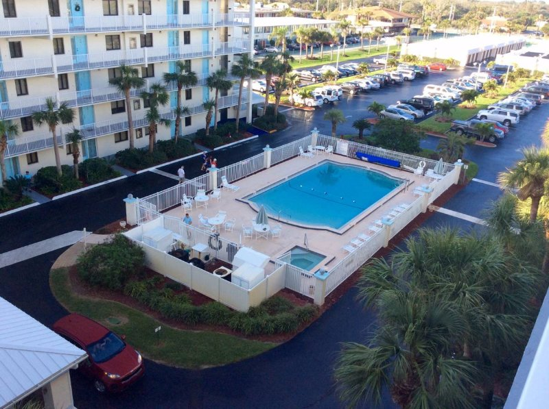A view from outside of our unit of the beautiful pool and jacuzzi.