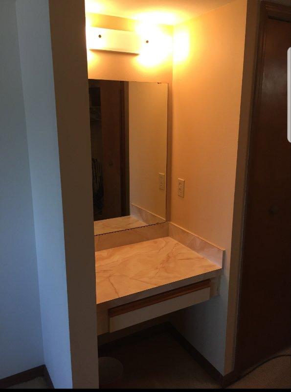 The master bedroom vanity
